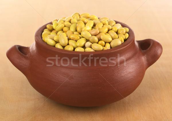 生 カナリア 豆 素朴な ボウル 黄色 ストックフォト © ildi