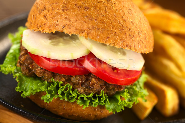 Photo stock: Végétarien · Burger · chignon · laitue · tomate