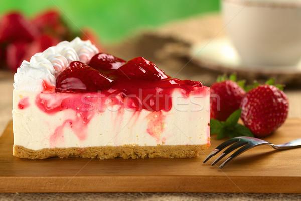 Strawberry cheesecake taze seçici odak odak kenar Stok fotoğraf © ildi
