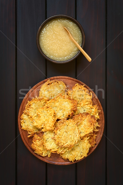 Potato Pancake or Fritter with Apple Sauce Stock photo © ildi