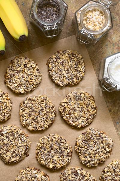 Vegan Haferflocken Bananen Cookies Hafer Stock foto © ildi
