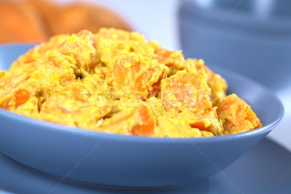 Hindistan cevizi tatlı patates köri çanak vejetaryen seçici odak Stok fotoğraf © ildi