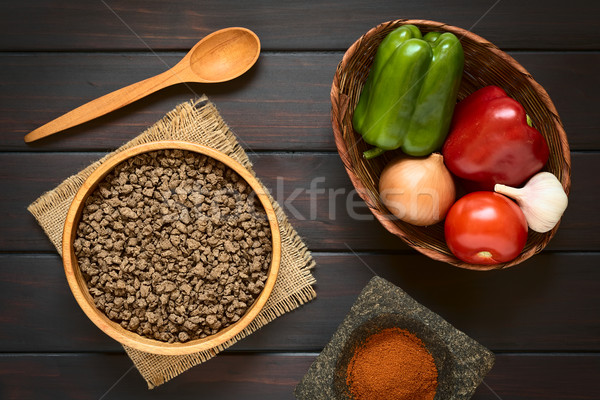 Raw Soy Meat and Vegetables Stock photo © ildi