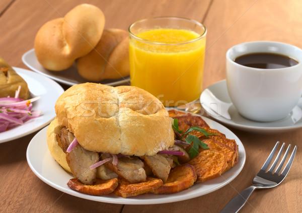 типичный завтрак жареный мяса Сток-фото © ildi