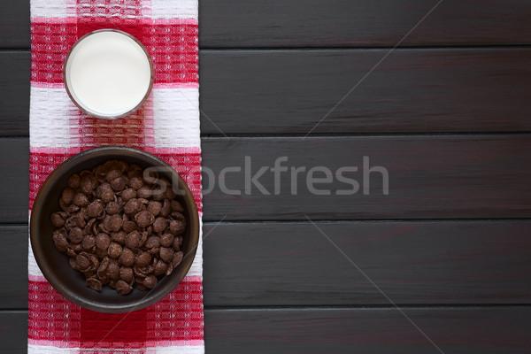 Chocolade cornflakes ontbijtgranen melk rustiek Stockfoto © ildi