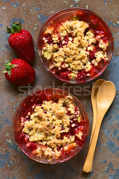 Strawberry and Rhubarb Crumble Stock photo © ildi