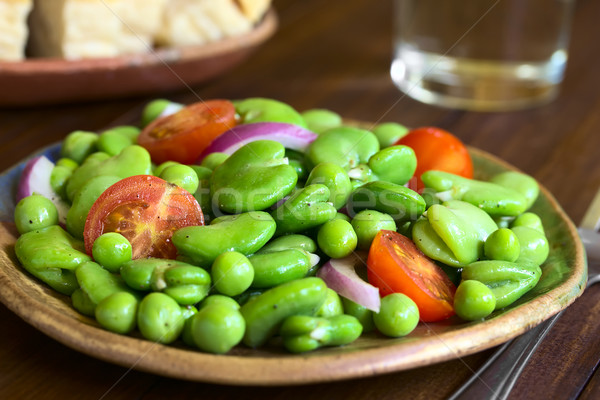 Broad Bean, Pea, Tomato and Onion Salad Stock photo © ildi