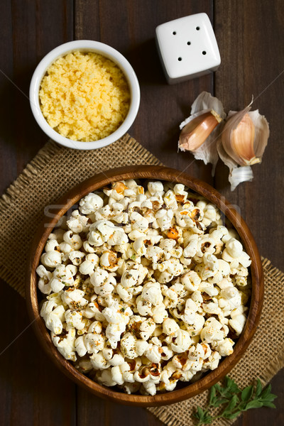 Popcorn fromages ail origan maison fraîches Photo stock © ildi