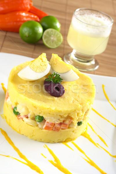 Geleneksel yemek sarı beyaz patates karışık Stok fotoğraf © ildi