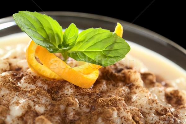 Sütlaç tarçın lezzetli ev yapımı turuncu Stok fotoğraf © ildi