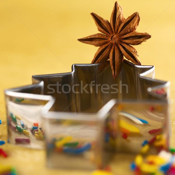Estrela anis árvore de natal bolinhos foco Foto stock © ildi
