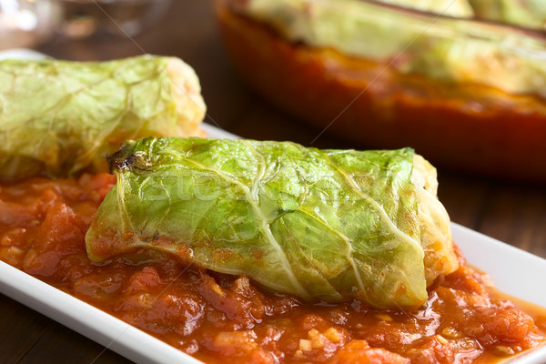Stuffed Savoy Cabbage on Tomato Sauce Stock photo © ildi