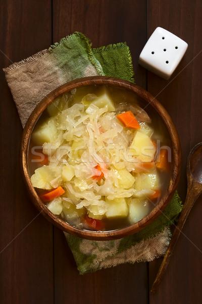 Lâhana turşusu çorba güveç vejetaryen hazır patates Stok fotoğraf © ildi
