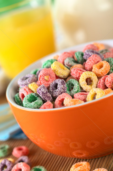 Stock photo: Colorful Cereal Loops with Different Fruit Flavour