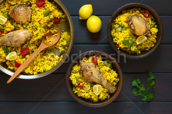 Spanish Chicken Paella Stock photo © ildi