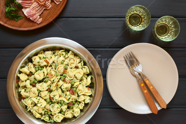 Stock photo: Tortellini Salad with Peas and Bacon