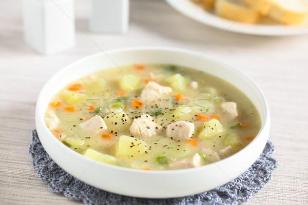 Pollo patate zuppa verde carota Foto d'archivio © ildi