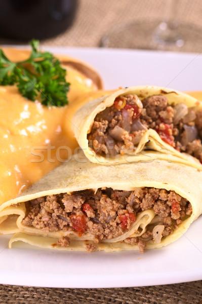 Crêpe la viande tomate oignon Photo stock © ildi
