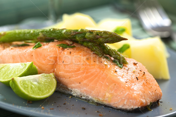 Сток-фото: лосося · спаржа · филе · зеленый · извести