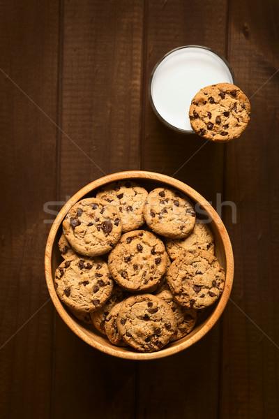 Stok fotoğraf: çikolata · yonga · kurabiye · süt · atış · ahşap