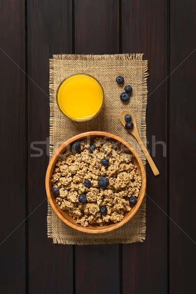 Breakfast Cereal with Blueberries Stock photo © ildi