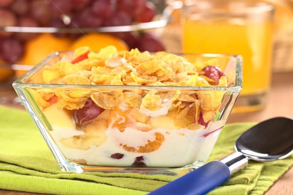 Vers vruchten cornflakes melk glas kom Stockfoto © ildi