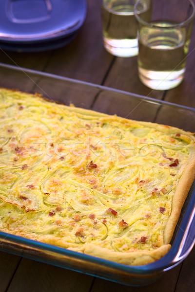 タマネギ ケーキ 伝統的な 酵母 玉葱 ベーコン ストックフォト © ildi