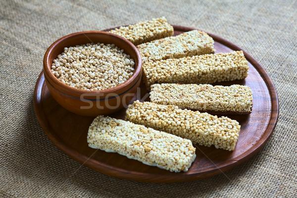 Quinoa Cereal Bars and Popped Quinoa Seeds Stock photo © ildi