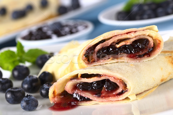 Stock photo: Pancakes Filled with Blueberry Jam