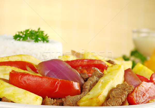 Peruvian Dish Called 'Lomo Saltado' Stock photo © ildi