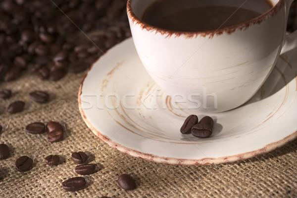 Stock fotó: Kávé · csészealj · kávéscsésze · sok · szövet · sekély