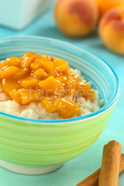 Rice Pudding with Peach Compote Stock photo © ildi