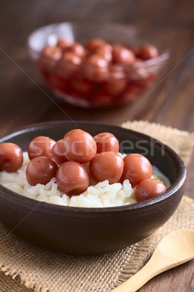 Cherry Compote on Rice Pudding Stock photo © ildi