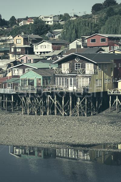 Palafito Stilt Houses in Castro, Chiloe Archipelago, Chile Stock photo © ildi