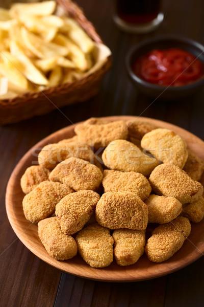 Kurczaka tablicy frytki Zdjęcia stock © ildi