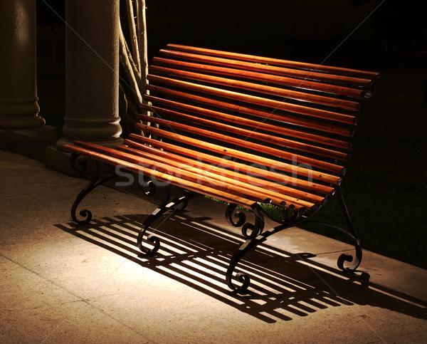 Bank plek licht houten permanente nacht Stockfoto © ildi