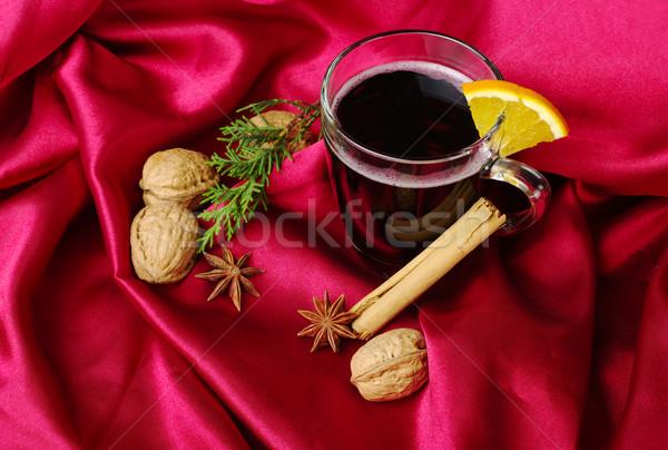 горячей вино оранжевый корицей звездой Сток-фото © ildi