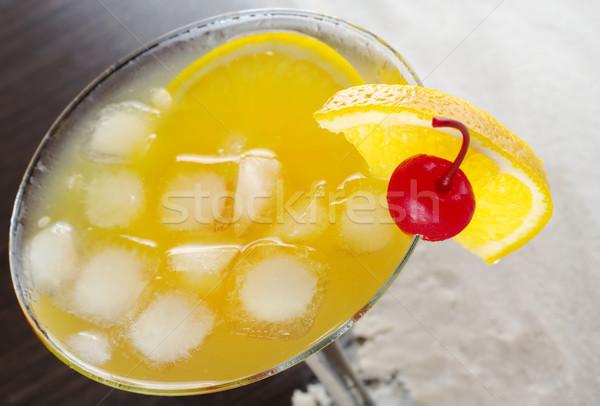Pomarańczowy koktajl wiśniowe pomarańczowy plasterka Zdjęcia stock © ildi