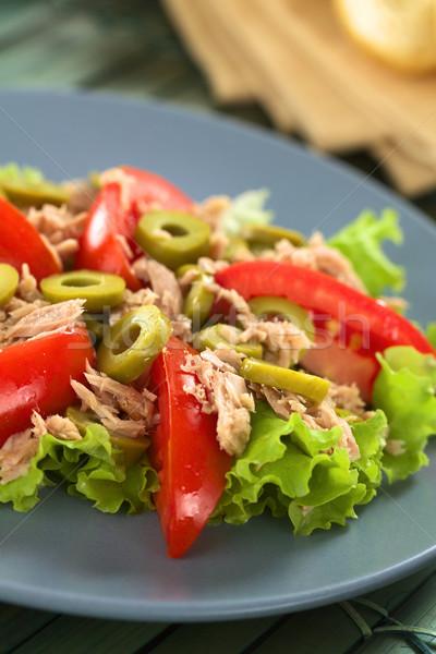 Atum tomates oliva salada fresco verde Foto stock © ildi