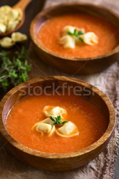 томатный суп Пельмени домашний свежие кремом орегано Сток-фото © ildi