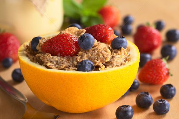 Wholewheat Cereal with Fresh Fruits Stock photo © ildi