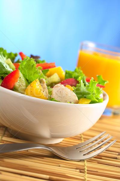 Csirkesaláta friss egészséges saláta mangó piros Stock fotó © ildi