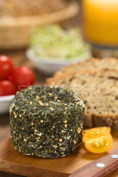 Сыр из козьего молока травы хлеб покрытый желтый Сток-фото © ildi