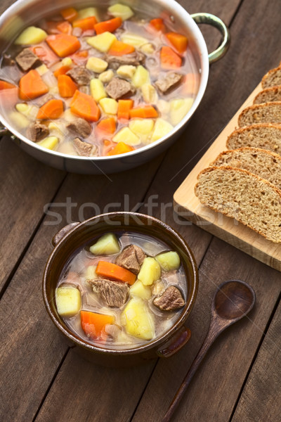 Hungarian Soup Called Gulyasleves  Stock photo © ildi