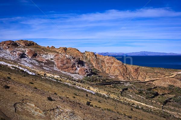 Rocky Hillside with Path on Isla del Sol in Lake Titicaca, Bolivia  Stock photo © ildi