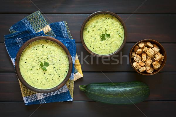 Crema zucchine zuppa shot due rustico Foto d'archivio © ildi