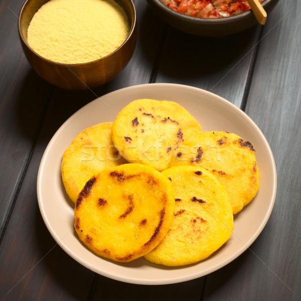 プレート ソース トマト タマネギ 調理済みの トウモロコシ ストックフォト © ildi