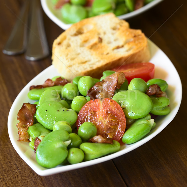 Broad Bean, Pea, Tomato and Bacon Salad Stock photo © ildi
