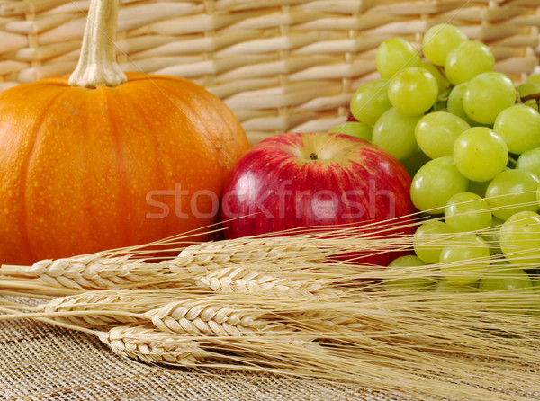 Сток-фото: пшеницы · виноград · яблоко · тыква · корзины · избирательный · подход