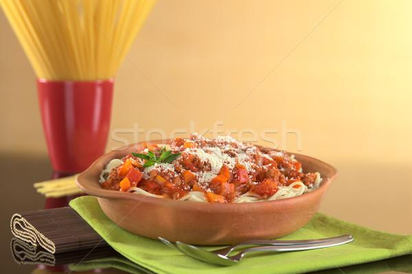 スパゲティ 粉チーズ 肉 トマト タマネギ ニンジン ストックフォト © ildi